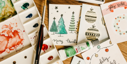 A table with Christmas cards