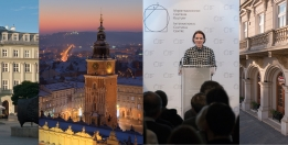 Collage of photos from Krakow. Kamienica Pod Kruki, view of the Town Hall, director of the ICC Agata Wąsowska-Pawlik